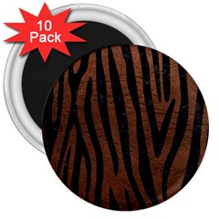 Skin4 Black Marble & Dull Brown Leather (r) 3  Magnets (10 Pack)  by trendistuff