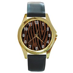 Skin4 Black Marble & Dull Brown Leather (r) Round Gold Metal Watch by trendistuff