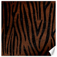 Skin4 Black Marble & Dull Brown Leather (r) Canvas 12  X 12   by trendistuff