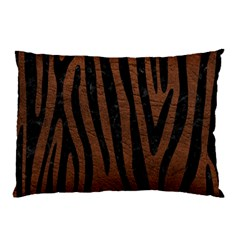 Skin4 Black Marble & Dull Brown Leather (r) Pillow Case by trendistuff