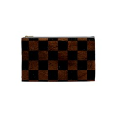 Square1 Black Marble & Dull Brown Leather Cosmetic Bag (small)  by trendistuff