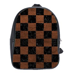 Square1 Black Marble & Dull Brown Leather School Bag (xl) by trendistuff