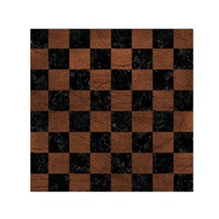 Square1 Black Marble & Dull Brown Leather Small Satin Scarf (square) by trendistuff