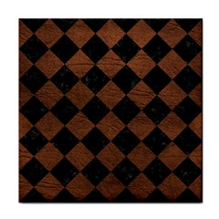 Square2 Black Marble & Dull Brown Leather Tile Coasters by trendistuff