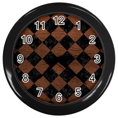 Square2 Black Marble & Dull Brown Leather Wall Clocks (black) by trendistuff