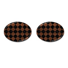 Square2 Black Marble & Dull Brown Leather Cufflinks (oval) by trendistuff