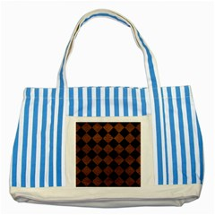 Square2 Black Marble & Dull Brown Leather Striped Blue Tote Bag by trendistuff