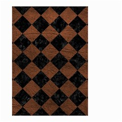 Square2 Black Marble & Dull Brown Leather Small Garden Flag (two Sides) by trendistuff