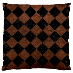 Square2 Black Marble & Dull Brown Leather Large Cushion Case (two Sides) by trendistuff