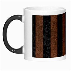 Stripes1 Black Marble & Dull Brown Leather Morph Mugs by trendistuff