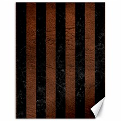 Stripes1 Black Marble & Dull Brown Leather Canvas 18  X 24   by trendistuff