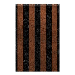 Stripes1 Black Marble & Dull Brown Leather Shower Curtain 48  X 72  (small)  by trendistuff