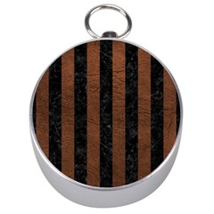 Stripes1 Black Marble & Dull Brown Leather Silver Compasses by trendistuff