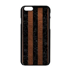 Stripes1 Black Marble & Dull Brown Leather Apple Iphone 6/6s Black Enamel Case by trendistuff