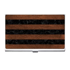 Stripes2 Black Marble & Dull Brown Leather Business Card Holders by trendistuff