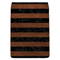Stripes2 Black Marble & Dull Brown Leather Flap Covers (l)