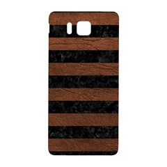 Stripes2 Black Marble & Dull Brown Leather Samsung Galaxy Alpha Hardshell Back Case by trendistuff