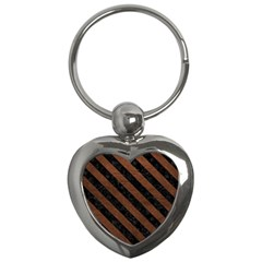 Stripes3 Black Marble & Dull Brown Leather Key Chains (heart)  by trendistuff