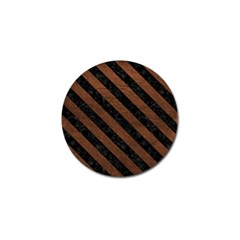 Stripes3 Black Marble & Dull Brown Leather Golf Ball Marker (10 Pack)