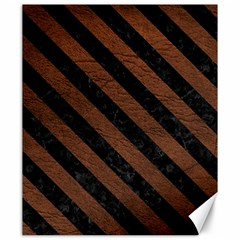 Stripes3 Black Marble & Dull Brown Leather Canvas 20  X 24   by trendistuff