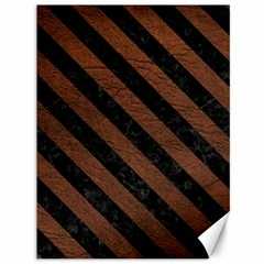 Stripes3 Black Marble & Dull Brown Leather Canvas 36  X 48