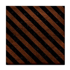 Stripes3 Black Marble & Dull Brown Leather Face Towel by trendistuff