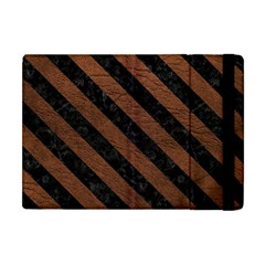 Stripes3 Black Marble & Dull Brown Leather Apple Ipad Mini Flip Case