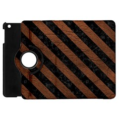 Stripes3 Black Marble & Dull Brown Leather Apple Ipad Mini Flip 360 Case by trendistuff