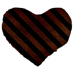 Stripes3 Black Marble & Dull Brown Leather Large 19  Premium Flano Heart Shape Cushions by trendistuff