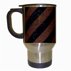 Stripes3 Black Marble & Dull Brown Leather (r) Travel Mugs (white) by trendistuff