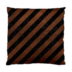 Stripes3 Black Marble & Dull Brown Leather (r) Standard Cushion Case (one Side) by trendistuff