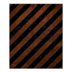 Stripes3 Black Marble & Dull Brown Leather (r) Shower Curtain 60  X 72  (medium)  by trendistuff