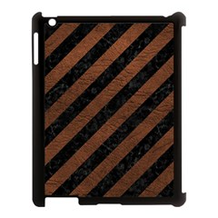 Stripes3 Black Marble & Dull Brown Leather (r) Apple Ipad 3/4 Case (black) by trendistuff