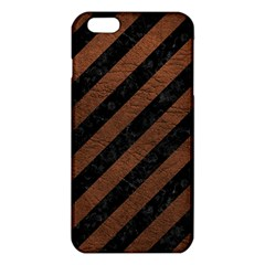 Stripes3 Black Marble & Dull Brown Leather (r) Iphone 6 Plus/6s Plus Tpu Case by trendistuff