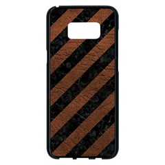 Stripes3 Black Marble & Dull Brown Leather (r) Samsung Galaxy S8 Plus Black Seamless Case