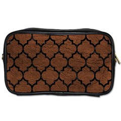 Tile1 Black Marble & Dull Brown Leather Toiletries Bags 2 Side by trendistuff