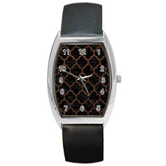 Tile1 Black Marble & Dull Brown Leather (r) Barrel Style Metal Watch by trendistuff