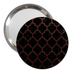 Tile1 Black Marble & Dull Brown Leather (r) 3  Handbag Mirrors by trendistuff