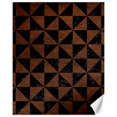 Triangle1 Black Marble & Dull Brown Leather Canvas 11  X 14   by trendistuff
