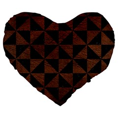 Triangle1 Black Marble & Dull Brown Leather Large 19  Premium Flano Heart Shape Cushions by trendistuff