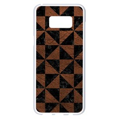 Triangle1 Black Marble & Dull Brown Leather Samsung Galaxy S8 Plus White Seamless Case by trendistuff