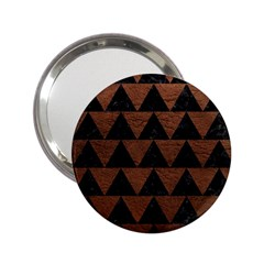 Triangle2 Black Marble & Dull Brown Leather 2 25  Handbag Mirrors by trendistuff
