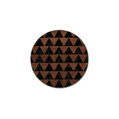 Triangle2 Black Marble & Dull Brown Leather Golf Ball Marker (4 Pack) by trendistuff
