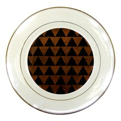 Triangle2 Black Marble & Dull Brown Leather Porcelain Plates by trendistuff