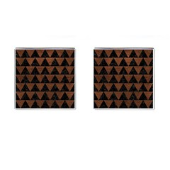 Triangle2 Black Marble & Dull Brown Leather Cufflinks (square) by trendistuff