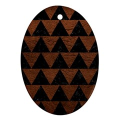 Triangle2 Black Marble & Dull Brown Leather Oval Ornament (two Sides)