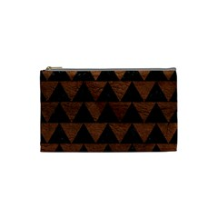 Triangle2 Black Marble & Dull Brown Leather Cosmetic Bag (small)  by trendistuff