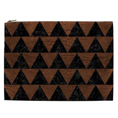 Triangle2 Black Marble & Dull Brown Leather Cosmetic Bag (xxl)  by trendistuff
