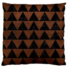Triangle2 Black Marble & Dull Brown Leather Large Flano Cushion Case (one Side) by trendistuff