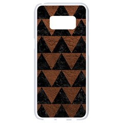 Triangle2 Black Marble & Dull Brown Leather Samsung Galaxy S8 White Seamless Case by trendistuff